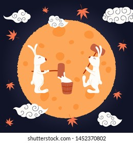 Holiday card, poster, banner design with full moon, cute rabbits making cakes, maple leaves, clouds. Hand drawn vector illustration. Concept for Mid Autumn Festival decor element. Flat style.