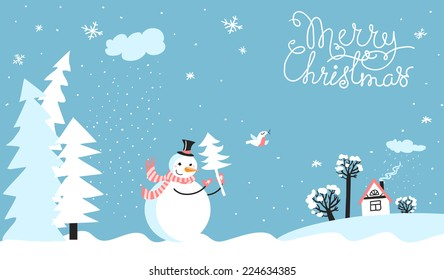 Holiday card with snowman. Copy space