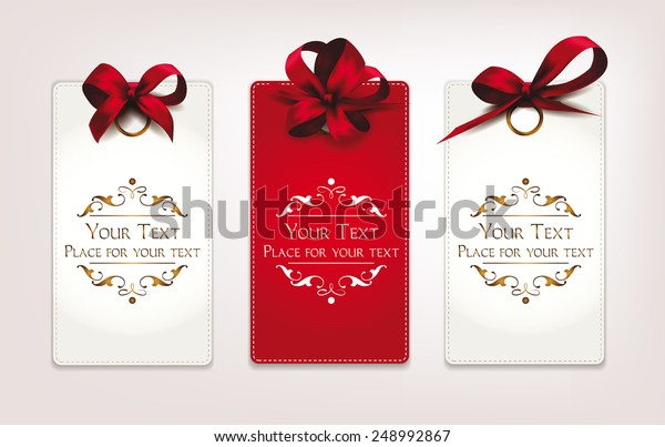 Holiday cards with red bows