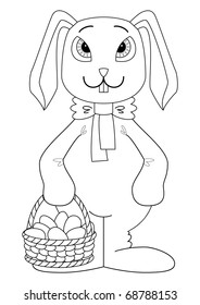 Holiday cartoon, rabbit bunny with a basket of Easter eggs, contour