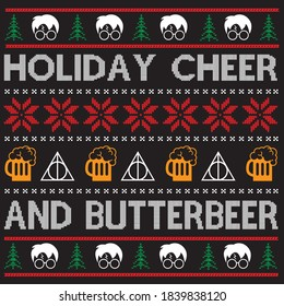 holiday cheer and butterbeer t shirt design, you can download vector file.