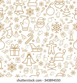 Holiday and Christmas background with icons
