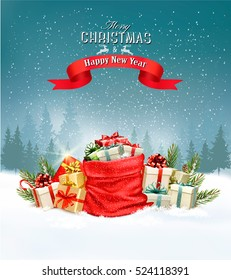 Holiday Christmas background with a sack full of gift boxes. Vector