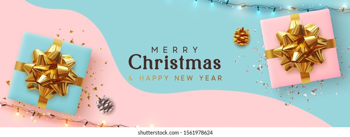 pink christmas ribbon banner images stock photos vectors shutterstock https www shutterstock com image vector holiday christmas banner xmas background realistic 1561978624