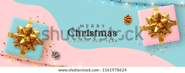 Holiday Christmas Banner. Xmas background with realistic pink and blue gift boxes, festive bright light garland. Horizontal border poster, header for website, greeting card. Advertising flyer brochure