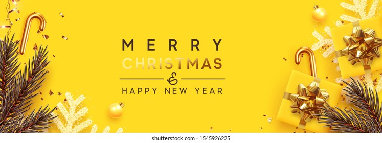 Holiday Christmas banner. Xmas design with realistic festive objects, sparkling lights garland, yellow gift box, golden snowflake, glitter gold confetti, pine and fir branches. Poster Happy New Year.