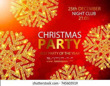 Holiday Christmas club poster. Party New Year design banner. Vector gold glitter luxury snowflake with lights effects.