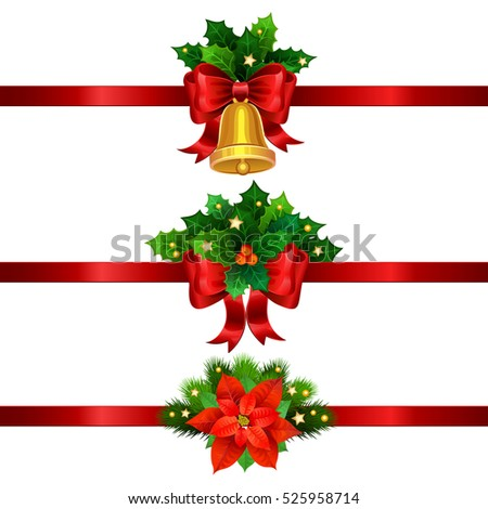 holiday christmas decorations with gold bell bow and christmas star vector illustration - Christmas Decorations Bows