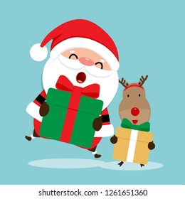Holiday Christmas greeting card with Santa Claus, and reindeer. Vector illustration.