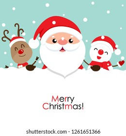 Holiday Christmas greeting card with Santa Claus, reindeer, and Snowman. Vector illustration.