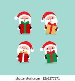 Holiday Christmas greeting card with Santa Claus. Vector illustration.