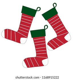holiday Christmas stocking set of three red green white vector illustration