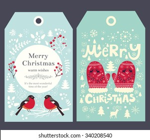 Holiday Christmas vector tags with mittens and bullfinch