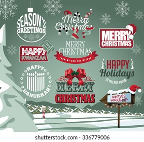 Holiday collection of labels, emblems and type treatments including Christmas, Hanukkah and Kwanzaa and snowy background. EPS 10 vector illustration.