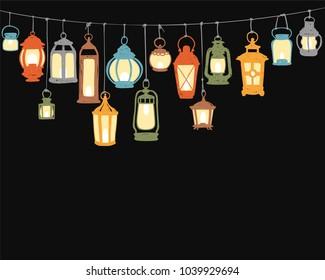 Holiday decor - hunging retro lanterns. Colorful doodle vector illustration