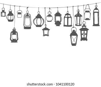 Holiday decor - hunging retro lanterns. Black on white doodle vector illustration