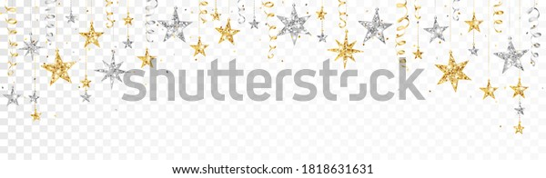 Holiday decoration, glitter border with stars. Festive vector background isolated on white. Gold and silver garland, frame. For Christmas and New Year banners, headers, birthday cards.