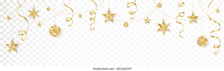 Holiday decoration, gold glitter border. Festive vector background isolated on white. Golden ornaments, garland with stars. For Christmas and New Year banners, headers, birthday and wedding cards.