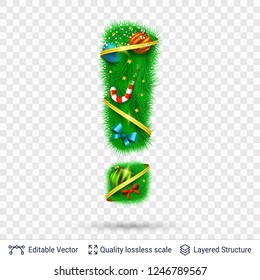 Holiday decorative Exclamation mark of fir tree. Christmas and New Year holiday alphabet symbol. Vector font element.