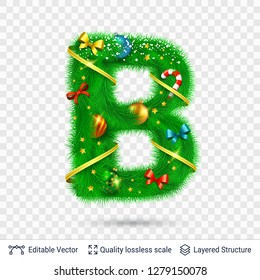 Holiday decorative letter of fir tree with toys. Christmas and New Year holiday alphabet symbol. Vector font element.