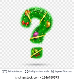 Holiday decorative Question mark of fir tree. Christmas and New Year holiday alphabet symbol. Vector font element.