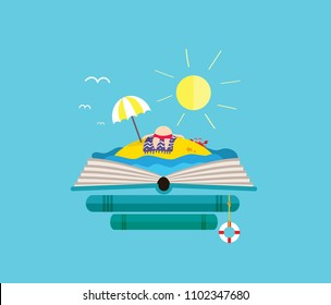 Holiday desert island with sunbathing man on the open book. Perfect for bookstore.