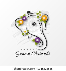 Holiday design for traditional Indian festival of Ganesh Chaturthi. Hand drawn illustration with paper cut style flowers. Grunge rangoli white background. Vector illustration.