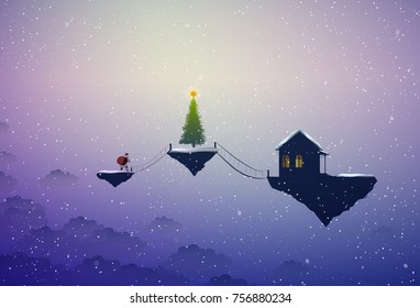 Holiday in the dreamland, Santa in the dreamland, Santa goes to the big Christmas tree and house on  flying rock, Christmas on heavens, Santa scene, vector