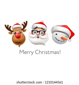 Holiday emoticon set icons, Christmas emoji symbols, Reindeer, santa Claus, snowman, vector illustration.