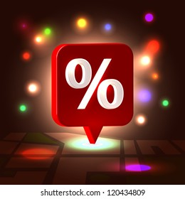 Holiday festive sale illustration concept  - red percent shining plastic badge over detailed block city map