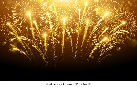 Holiday fireworks on dark background. Vector illustration