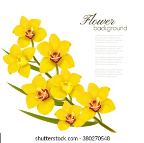 Holiday flowers background with yellow orchids. Vector.
