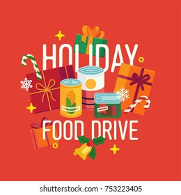 Holiday food drive themed poster or banner design. Winter season charity food bank vector concept illustration with canned food, candy canes and gift boxes