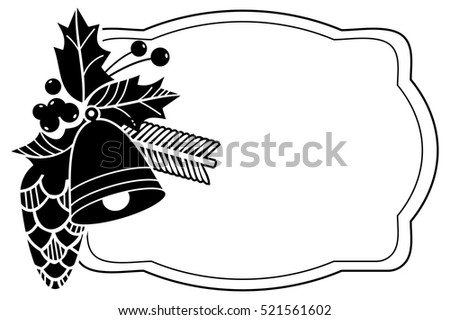 Christmas Bells Images Clip Art.Holiday Frame Christmas Bells Holly Berries Stock Vector