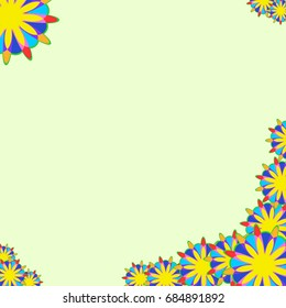 Holiday frame. Template for writing. Abstract flowers are located along the edges of the card. Background is light green.