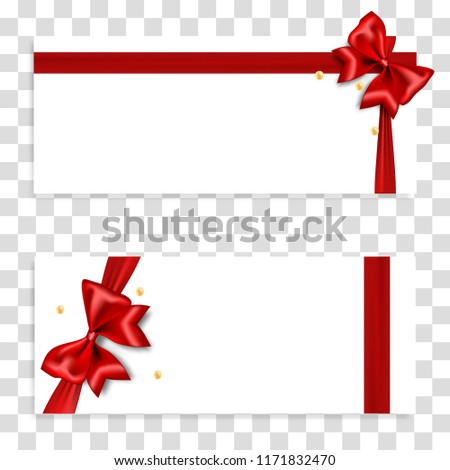 Holiday Gift Banner Red Bow Transparent Stock Vector Royalty Free