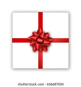 Holiday gift box with red ribbon and bow. Template for a business card, banner, poster, flyer, notebook, invitation. Vector illustration for your design.