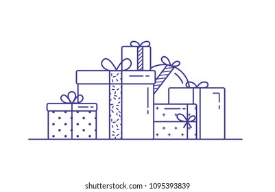 Holiday gift boxes wrapped in paper and decorated with ribbons and bows. Pile of packed festive presents drawn with contour lines on white background. Monochrome vector illustration in lineart style