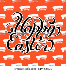 Holiday gift card with hand lettering Happy Easter on colorful grunge background. Vector illustration for your design