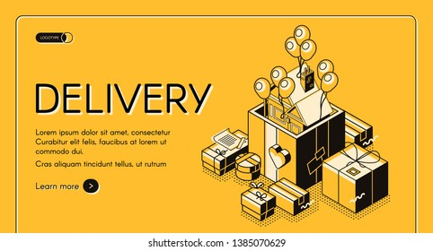 Holiday gift, celebration present, anniversary surprise delivery service isometric vector web banner, landing page template. House flying off from decorated cardboard giftbox on balloons illustration