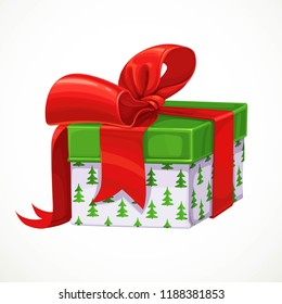 Holiday gift in white box with pattern in Christmas tree and red bow isolated on a white background