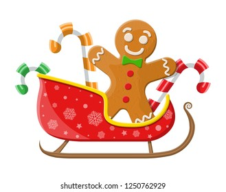 Holiday gingerbread man cookie and candycane in santa sleigh. Cookie in shape of man with colored icing. Merry christmas holiday. New year xmas celebration. Vector illustration flat style