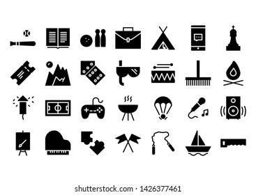holiday glyph icon symbol set
