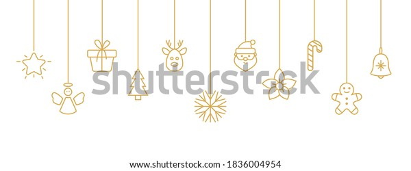 Holiday gold baubles with snowflake, santa, christmas tree, reindeer, candy cane, angel, gift box. Christmas hanging on white background. New year card. Party design elements. Vector illustration.