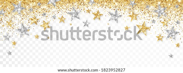 Holiday gold and silver decoration, glitter frame isolated on white. Festive border with falling glitter dust and stars. For Christmas and New Year banners, headers, party posters, birthday cards.