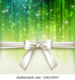 holiday green background with white bow