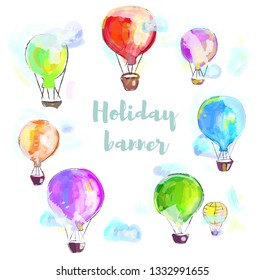 Holiday greeting card with air balloons, painted illustration. Vector graphic
