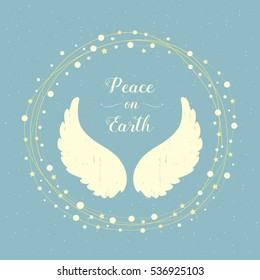 Holiday greeting card, Angel wings and Christmas wreath, Peace on Earth
