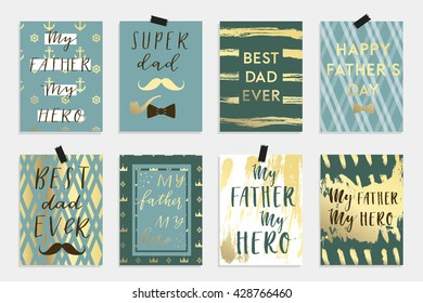 Holiday greeting card collection for Father's day. Vector illustration set in gold blue black and white colors