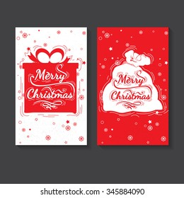 Holiday greeting card design. Marry Christmas - quote for post card, posters, banners, flyer. Christmas lettering vector collection. Christmas gift and Santa Claus bag